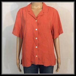 Tommy Bahama Orange Button Up Short Sleeve